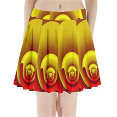 Red Gold Fractal Hypocycloid Pleated Mini Skirt