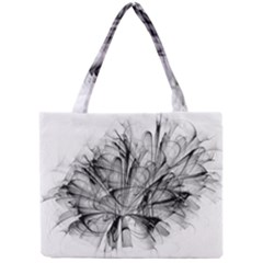 High Detailed Resembling A Flower Fractalblack Flower Mini Tote Bag
