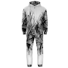 High Detailed Resembling A Flower Fractalblack Flower Hooded Jumpsuit (Men)