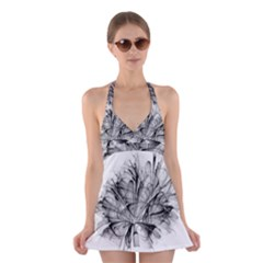 High Detailed Resembling A Flower Fractalblack Flower Halter Swimsuit Dress