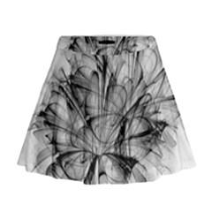 High Detailed Resembling A Flower Fractalblack Flower Mini Flare Skirt
