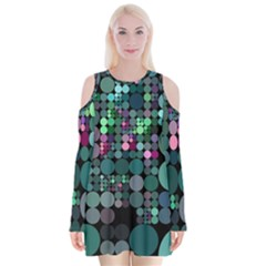 Color Party 03 Velvet Long Sleeve Shoulder Cutout Dress