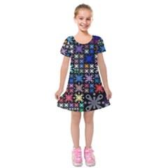 Color Party 01 Kids  Short Sleeve Velvet Dress