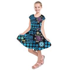 Color Party 02 Kids  Short Sleeve Dress