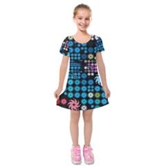 Color Party 02 Kids  Short Sleeve Velvet Dress