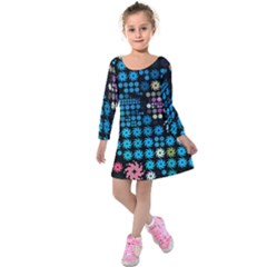Color Party 02 Kids  Long Sleeve Velvet Dress
