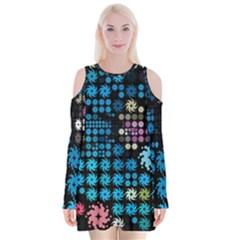 Color Party 02 Velvet Long Sleeve Shoulder Cutout Dress