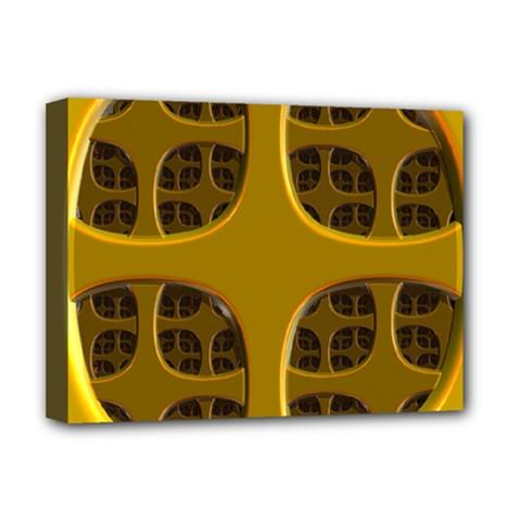 Golden Fractal Window Deluxe Canvas 16  x 12