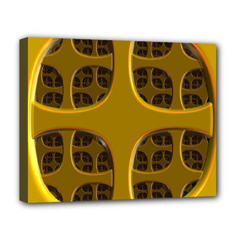 Golden Fractal Window Deluxe Canvas 20  x 16
