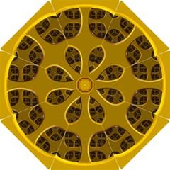 Golden Fractal Window Hook Handle Umbrellas (Small)
