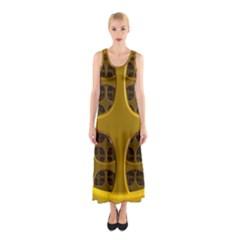 Golden Fractal Window Sleeveless Maxi Dress