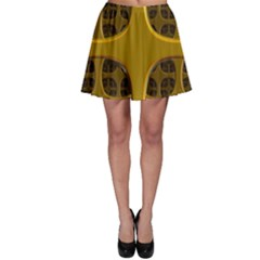 Golden Fractal Window Skater Skirt
