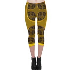 Golden Fractal Window Capri Leggings