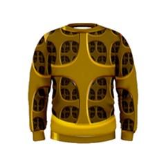 Golden Fractal Window Kids  Sweatshirt
