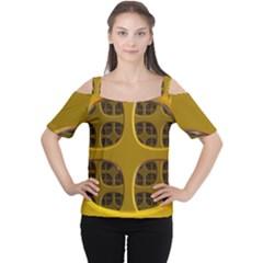Golden Fractal Window Women s Cutout Shoulder Tee