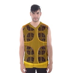 Golden Fractal Window Men s Basketball Tank Top