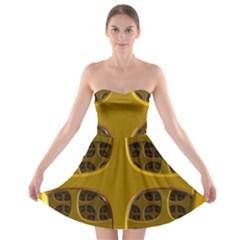 Golden Fractal Window Strapless Bra Top Dress