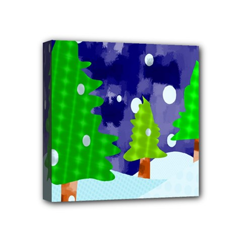 Christmas Trees And Snowy Landscape Mini Canvas 4  X 4
