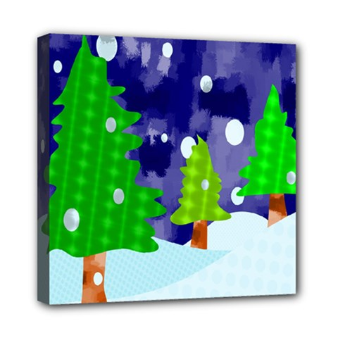 Christmas Trees And Snowy Landscape Mini Canvas 8  x 8
