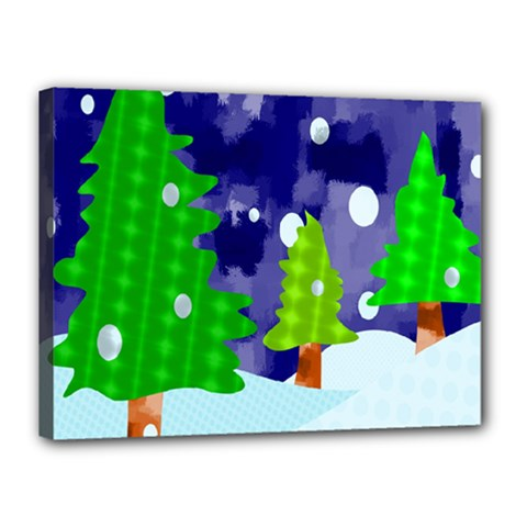 Christmas Trees And Snowy Landscape Canvas 16  X 12