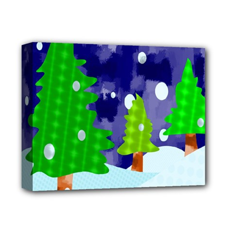 Christmas Trees And Snowy Landscape Deluxe Canvas 14  x 11