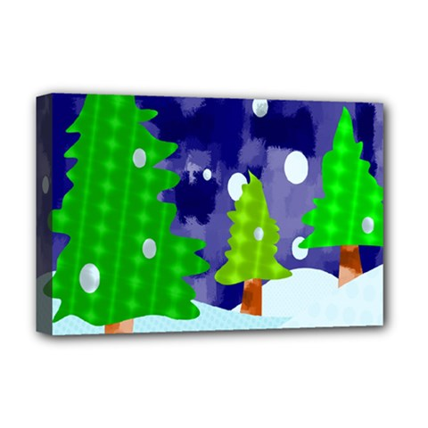 Christmas Trees And Snowy Landscape Deluxe Canvas 18  x 12