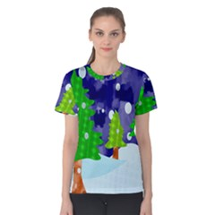 Christmas Trees And Snowy Landscape Women s Cotton Tee