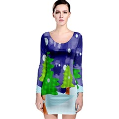 Christmas Trees And Snowy Landscape Long Sleeve Bodycon Dress