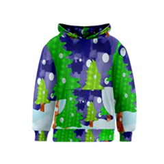 Christmas Trees And Snowy Landscape Kids  Pullover Hoodie