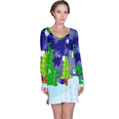 Christmas Trees And Snowy Landscape Long Sleeve Nightdress