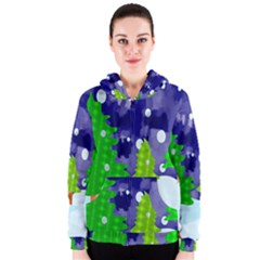 Christmas Trees And Snowy Landscape Women s Zipper Hoodie