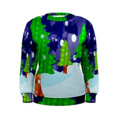 Christmas Trees And Snowy Landscape Women s Sweatshirt