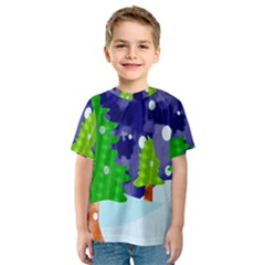 Christmas Trees And Snowy Landscape Kids  Sport Mesh Tee
