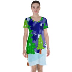 Christmas Trees And Snowy Landscape Short Sleeve Nightdress