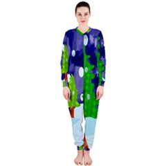 Christmas Trees And Snowy Landscape OnePiece Jumpsuit (Ladies)