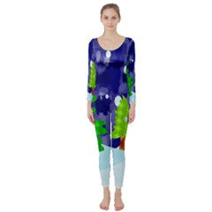 Christmas Trees And Snowy Landscape Long Sleeve Catsuit