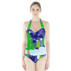 Christmas Trees And Snowy Landscape Halter Swimsuit