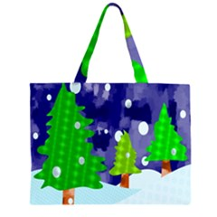 Christmas Trees And Snowy Landscape Zipper Large Tote Bag