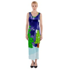 Christmas Trees And Snowy Landscape Fitted Maxi Dress