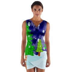 Christmas Trees And Snowy Landscape Wrap Front Bodycon Dress