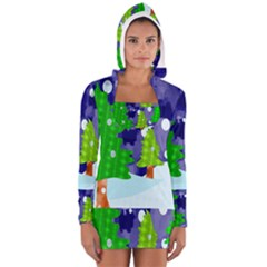 Christmas Trees And Snowy Landscape Women s Long Sleeve Hooded T Shirt