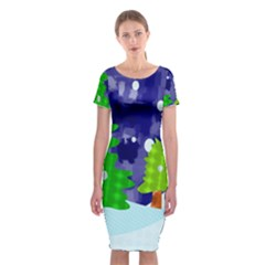 Christmas Trees And Snowy Landscape Classic Short Sleeve Midi Dress