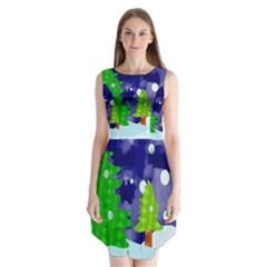 Christmas Trees And Snowy Landscape Sleeveless Chiffon Dress