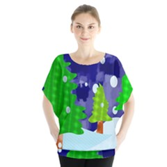 Christmas Trees And Snowy Landscape Blouse