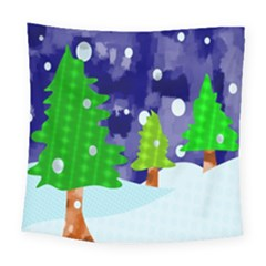 Christmas Trees And Snowy Landscape Square Tapestry (large)