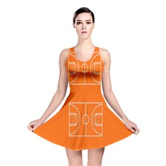 Basketball Court Orange Sport Orange Line Reversible Skater Dress