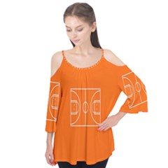 Basketball Court Orange Sport Orange Line Flutter Tees