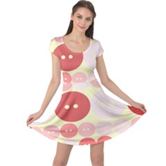 Buttons Pink Red Circle Scrapboo Cap Sleeve Dresses