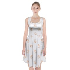 Helpless Bird Sketch Seamless Pattern Racerback Midi Dress