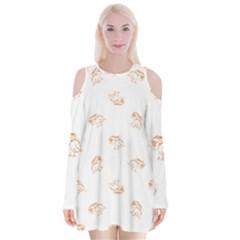 Helpless Bird Sketch Seamless Pattern Velvet Long Sleeve Shoulder Cutout Dress
